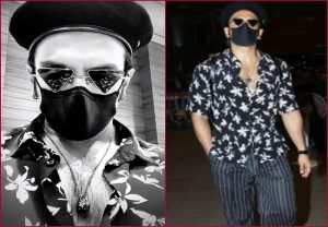 Ranveer Singh keeps it stylish in his floral shirt, striped pants with metallic sneakers & nails his airport look