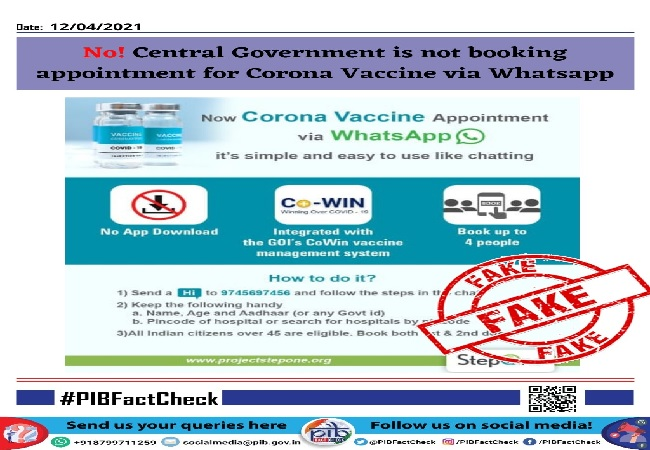 VIRAL CHECK: COVID-19 Vaccination appointment cannot be booked on Whatsapp- This claim is Fake