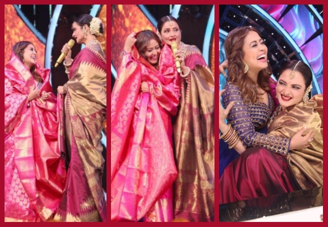 Neha Kakkar gets beautiful Kanjeevaram saree from Rekha; See Pics