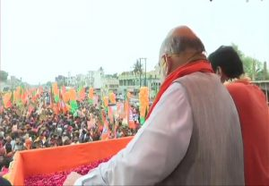 Amid rising covid-19 cases Amit Shah holds massive roadshow in Bengal's Nadia