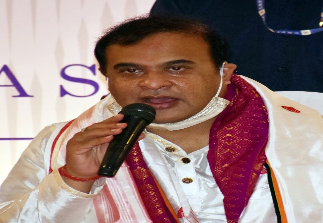Newly sworn Chief Minister of Assam Himanta Biswa Sarma addressing a press conference, in Guwahati on Monday.
