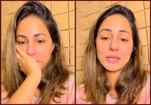 Hina Khan recovers from Covid, speaks to fans wearing her father's T-shirt, has tears in her eyes (VIDEO)