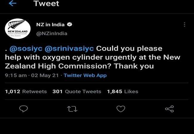 New Zealand High Commission seeks oxygen support from IYC, deletes tweet later