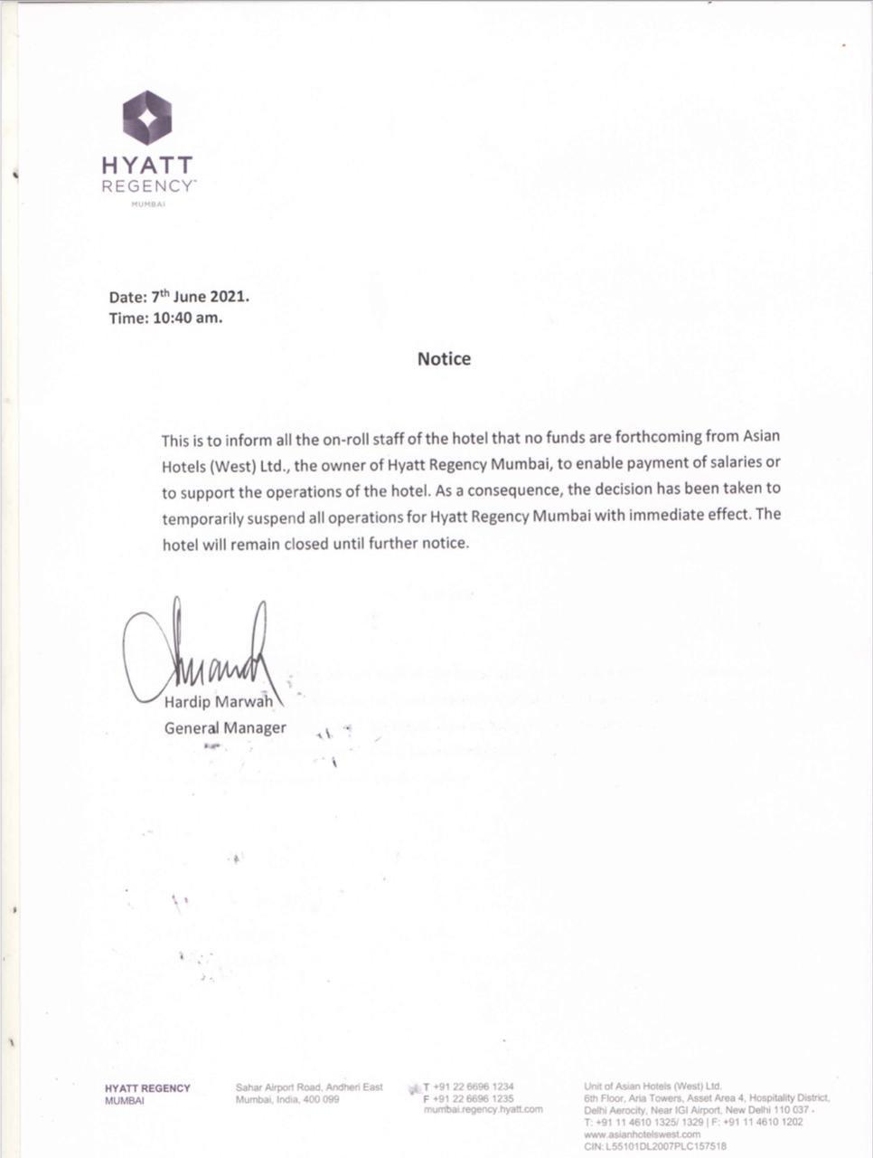 Hyatt Regency Mumbai says working to resolve situation after temporarily suspending operations amid 'Financial Crunch'