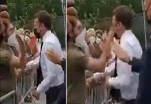 French President Emmanuel Macron slapped in face by man in crowd; 2 arrested