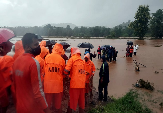 NDRF team carries rescue, relief operations Maharashtra's Chiplun; IMD issues red alert for 6 districts