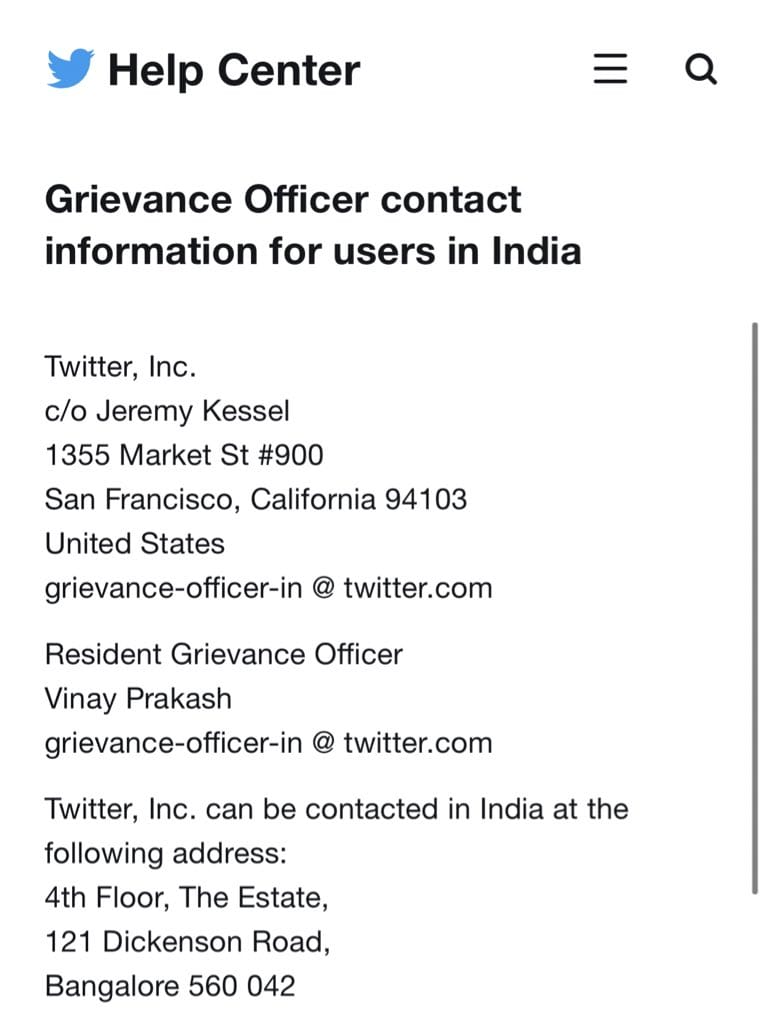 Twitter appoints Vinay Prakash as its Resident Grievance Officer. Also furnishes a monthly report on action taken against accounts under various sections.