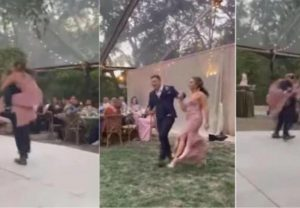 Wedding Dance Goes Wrong: Bride and groom fall off the stage while performance (Viral Video)